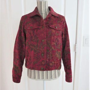 Gorgeous Tapestry Jean Jacket Style Burgundy